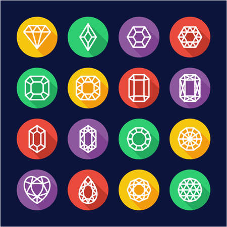 Diamonds or Diamond Shapes Icons Flat Design Circle