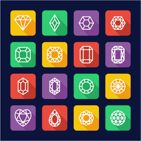 Diamonds or Diamond Shapes Icons Flat Design