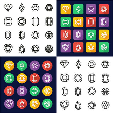 Diamonds or Diamond Shapes Icons All in One Icons Black and White Color Flat Design Freehand Set 矢量图像