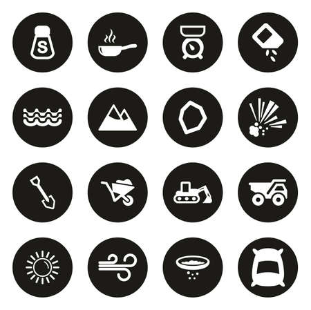 Salt or Salt Mining Icons White On Black Circle Ilustração