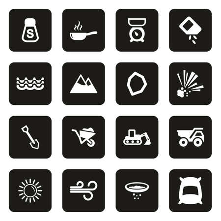 Salt or Salt Mining Icons White On Black  イラスト・ベクター素材