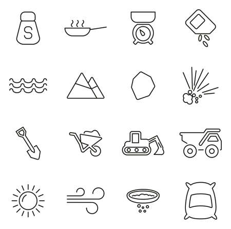 Salt or Salt Mining Icons Thin Line Vector Illustration Set  イラスト・ベクター素材