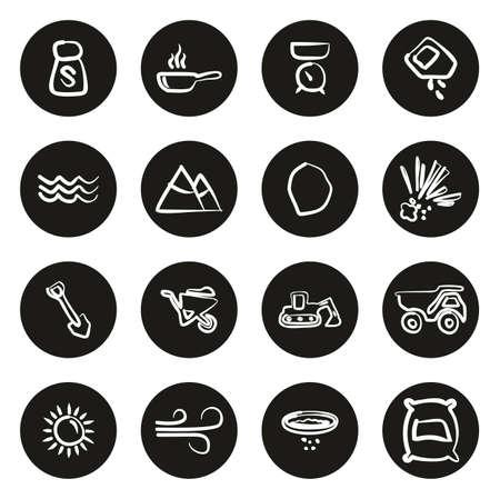 Salt or Salt Mining Icons Freehand White On Black Circle
