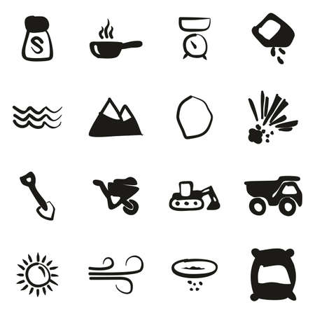 Salt or Salt Mining Icons Freehand Fill