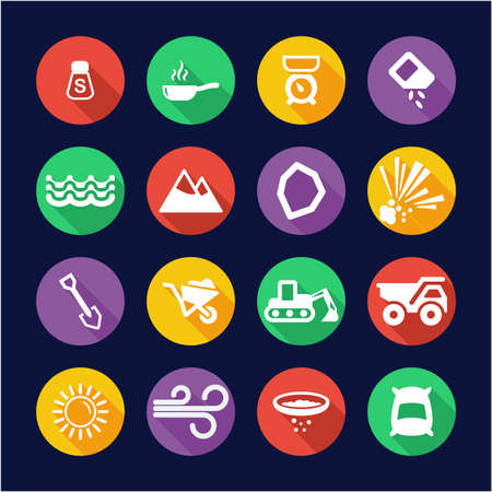 Salt or Salt Mining Icons Flat Design Circle