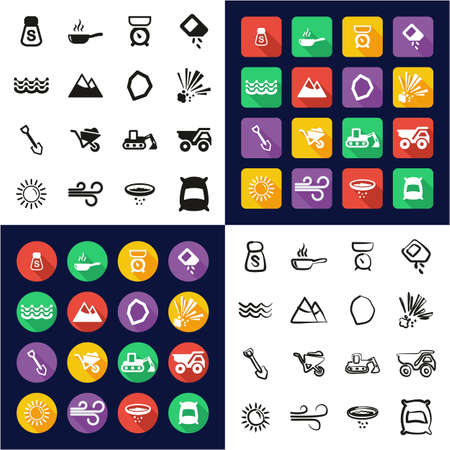 Salt or Salt Mining Icons All in One Icons Black and White Color Flat Design Freehand Set