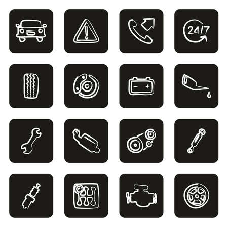 Road Assistance Service Icons Freehand White On Black Illustration