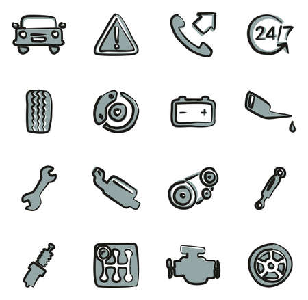 Road Assistance Service Icons Freehand 2 Color