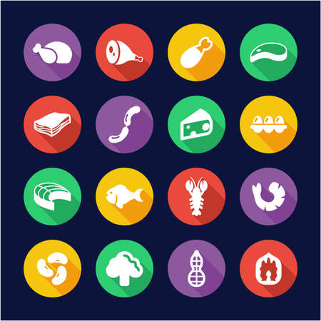 Protein Food Icons Flat Design Circle