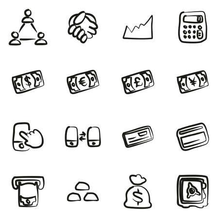 Money Transaction Icons Freehand Illusztráció