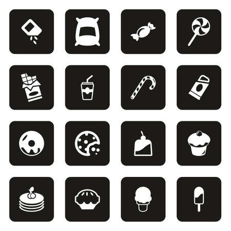 Sugar or Sugar Food Icons White On Black 일러스트
