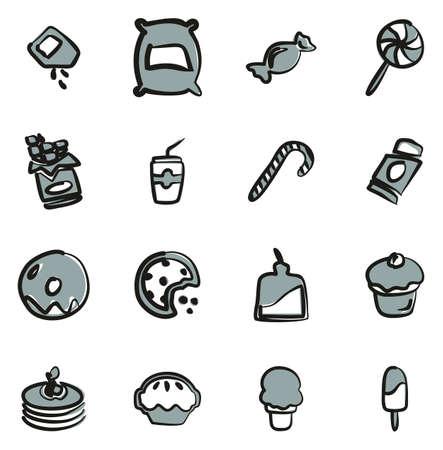 Sugar or Sugar Food Icons Freehand 2 Color 일러스트