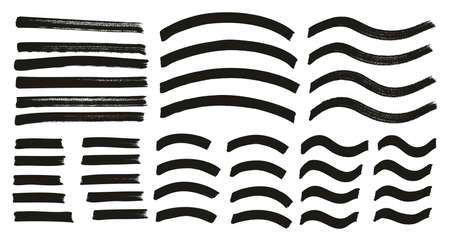 Marqueur de repérage Lignes moyennes Lignes courbes Lignes ondulées Ensemble de fond abstrait vectoriel à détail élevé 47 Vecteurs