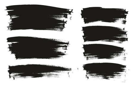 Calligraphy Paint Wide Brush Background Long Mix High Detail Abstract Vector Background Mix Set Ilustração Vetorial