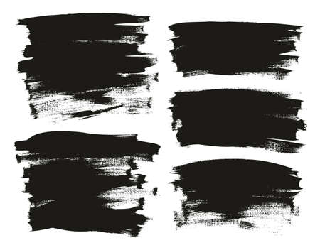 Calligraphy Paint Wide Brush Background Long Mix High Detail Abstract Vector Background Set