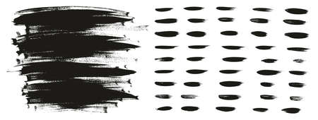 Calligraphy Paint Wide Brush Background Long & Straight Lines High Detail Abstract Vector Background Set