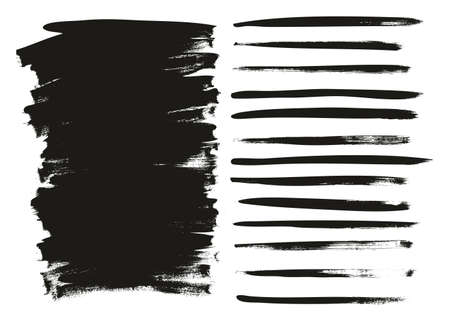 Calligraphy Paint Wide Brush Background Long High Detail Abstract Vector Background Set 20 Stock Illustratie