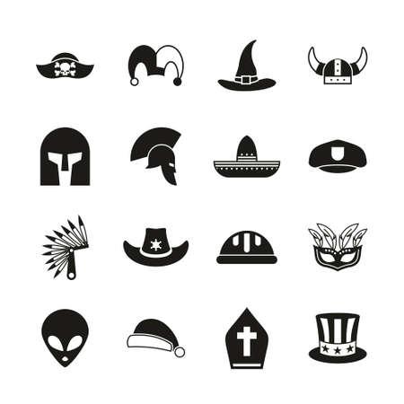 Costume Hats Icons Black & White Set