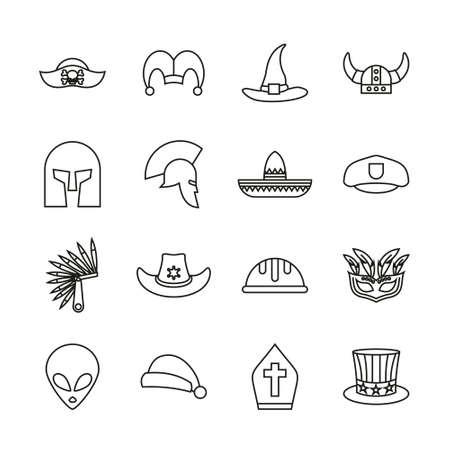 Costume Hats Icons Thin Line Set