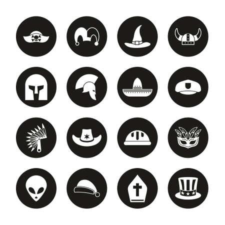 Costume Hats Icons White On Black Circle Set