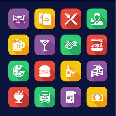 Dinner Icons Flat Design Set