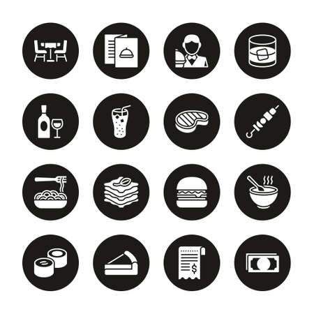 Lunch Icons White On Black Circle Set