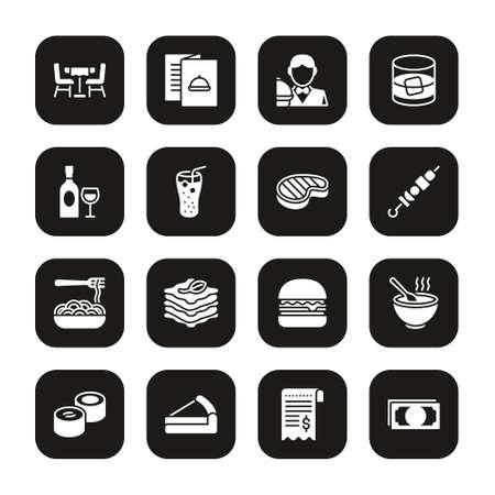 Lunch Icons White On Black Set Stok Fotoğraf - 132105953