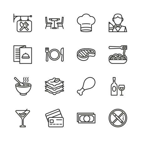 Restaurant Icons Thin Line Set Stok Fotoğraf - 132105968