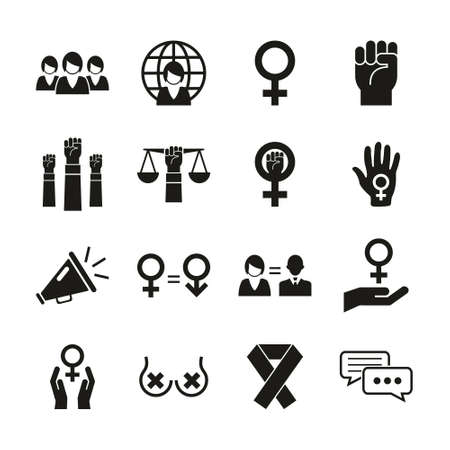 Feminism Icons Black & White Set Stok Fotoğraf - 132967510