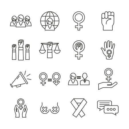 Feminism Icons Thin Line Set Stok Fotoğraf - 132967511