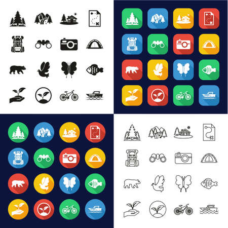 Eco Tourism Icons All in One Icons -Black & White-Color Flat Design-Thin Line- Set