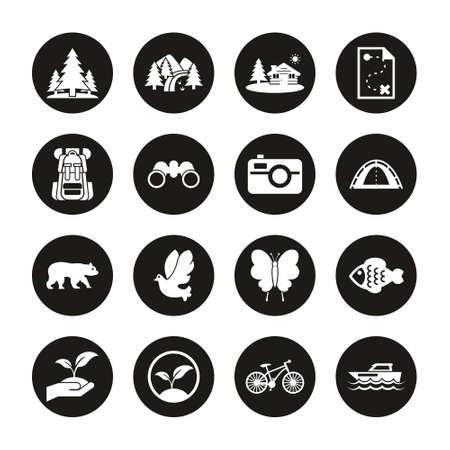 Eco Tourism Icons White On Black Circle Set Ilustrace