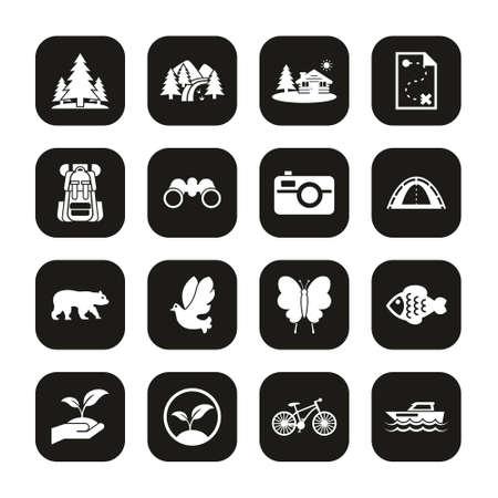 Eco Tourism Icons White On Black Set