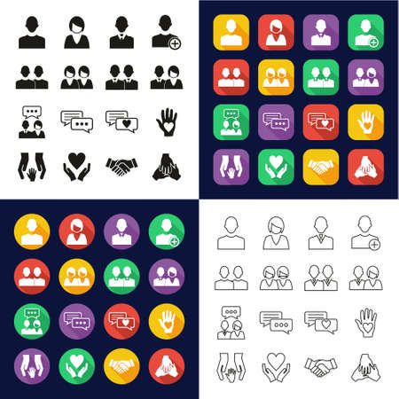 Friend Or Companion Icons All in One Icons -Black & White-Color Flat Design-Thin Line- Set