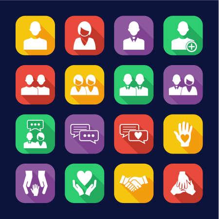 Friend Or Companion Icons Flat Design Set Ilustrace