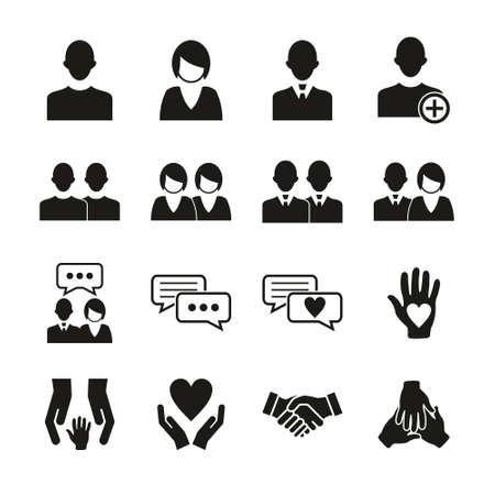 Friend Or Companion Icons Black & White Set