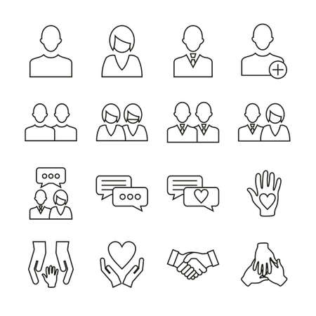 Friend Or Companion Icons Thin Line Set Ilustrace