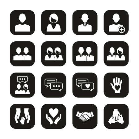 Friend Or Companion Icons White On Black Set