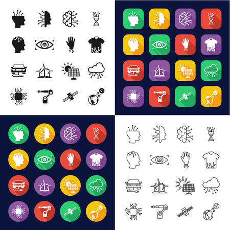 Future Technology Icons All in One Icons -Black & White-Color Flat Design-Thin Line- Set