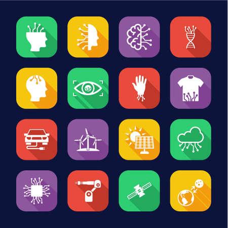 Future Technology Icons Flat Desing Set