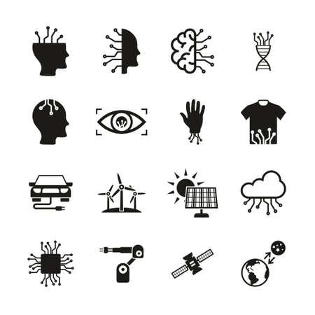 Future Technology Icons Black & White Set
