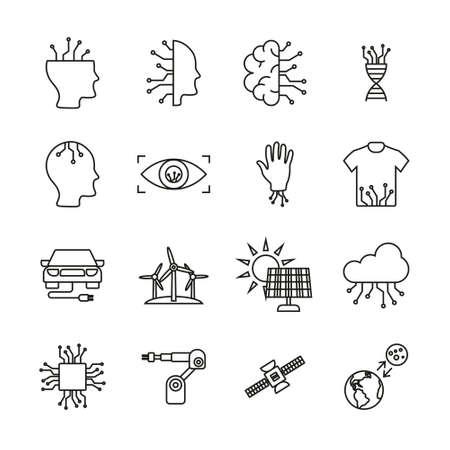 Future Technology Icons Thin Line Set