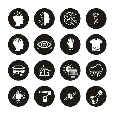 Future Technology Icons White On Black Circle Set