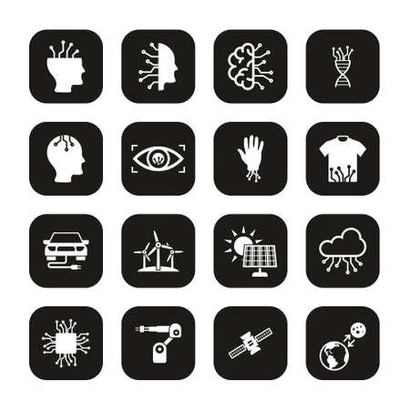 Future Technology Icons White On Black Set Ilustrace
