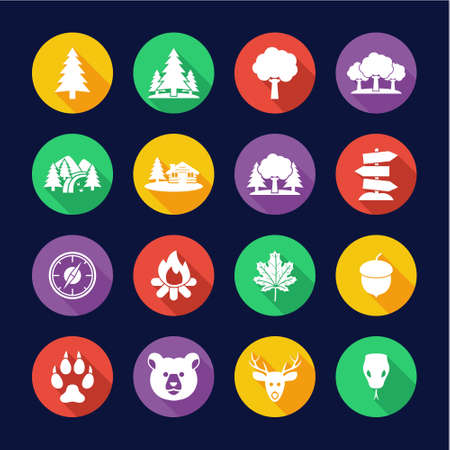Forest Or Woods Icons Flat Design Circle Set