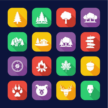 Forest Or Woods Icons Flat Design Set