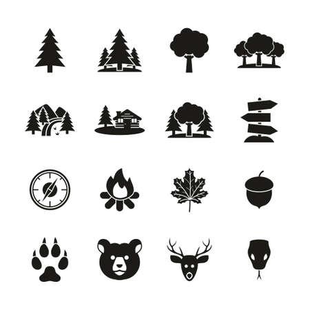Forest Or Woods Icons Black & White Set Reklamní fotografie - 132967685