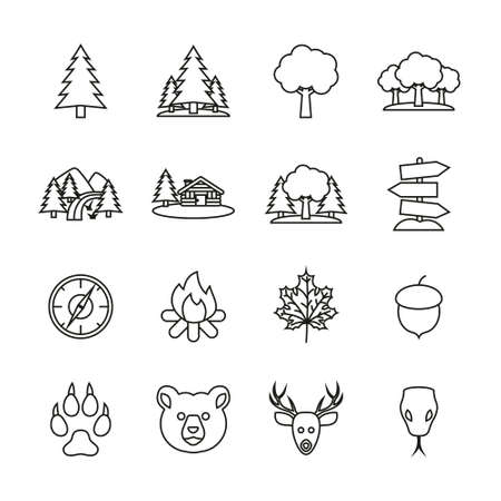 Forest Or Woods Icons Thin Line Set