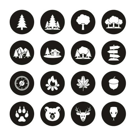 Forest Or Woods Icons White On Black Circle Set