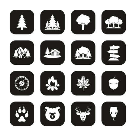 Forest Or Woods Icons White On Black Set